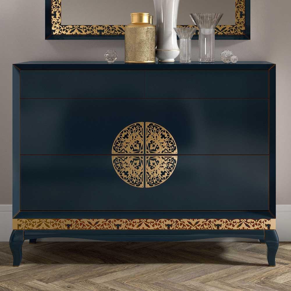 Italienisches Design Sideboard in Dunkelblau Blattgold verziert
