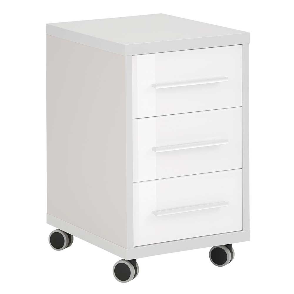 Rollcontainer in Grau und Weiß Glas beschichtet