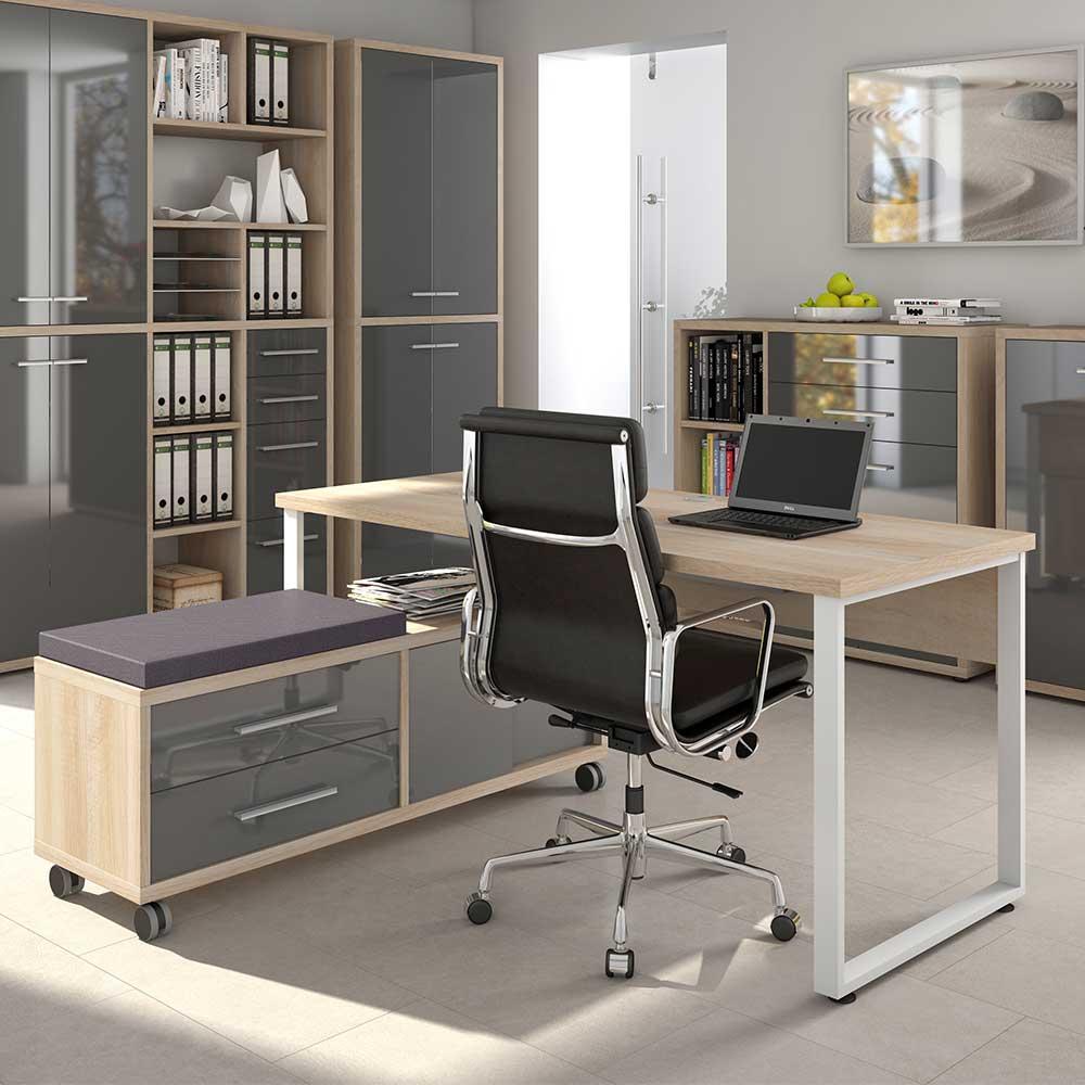 Büro Computertisch in Grau und Eiche Optik Sitz Rollcontainer (zweiteilig)