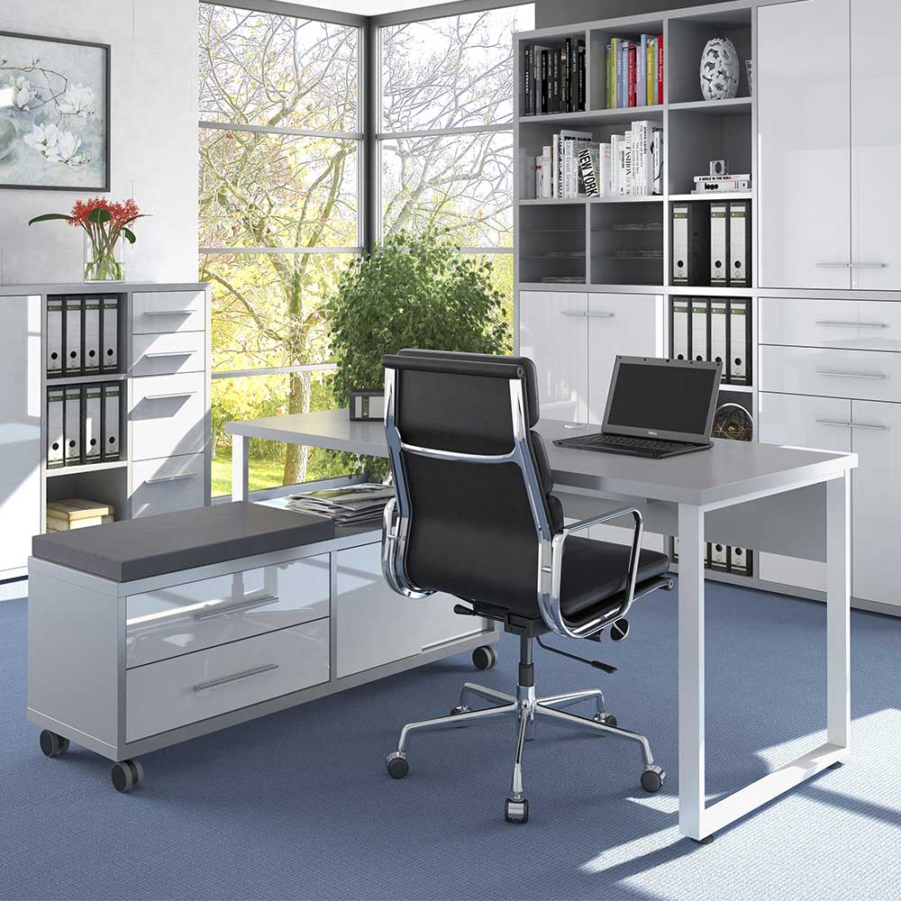 Designschreibtisch in Weiß und Grau Sitz Rollcontainer (zweiteilig)