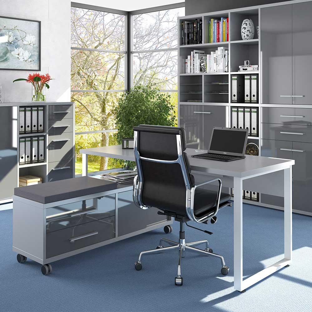 Büroschreibtisch in Grau und Weiß Sitz Rollcontainer (zweiteilig)