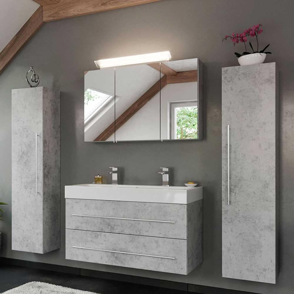 Badmöbel Set in Beton Grau zwei Personen Waschtisch (vierteilig)