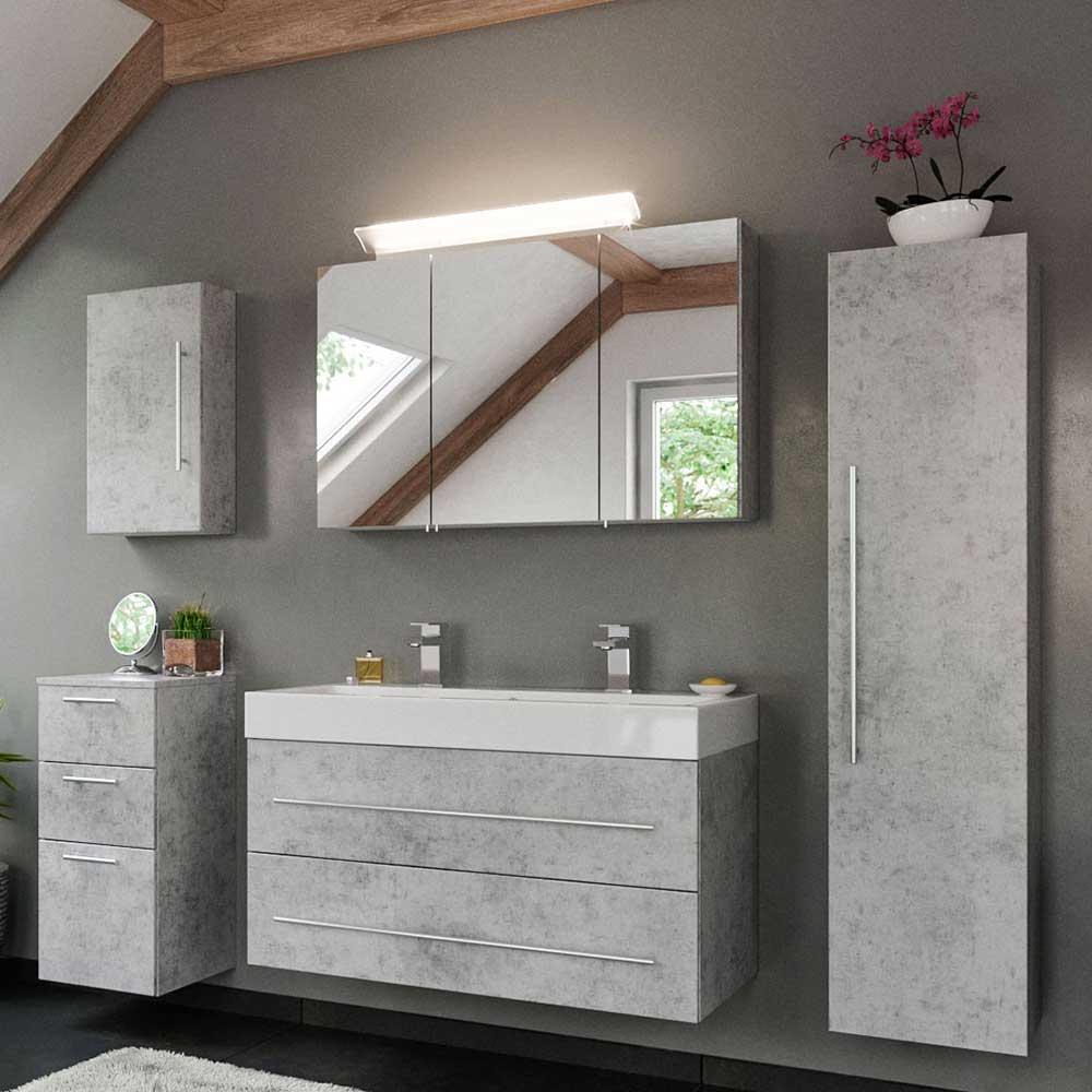 Badmöbel Set in Beton Grau Doppel Waschtisch (fünfteilig)