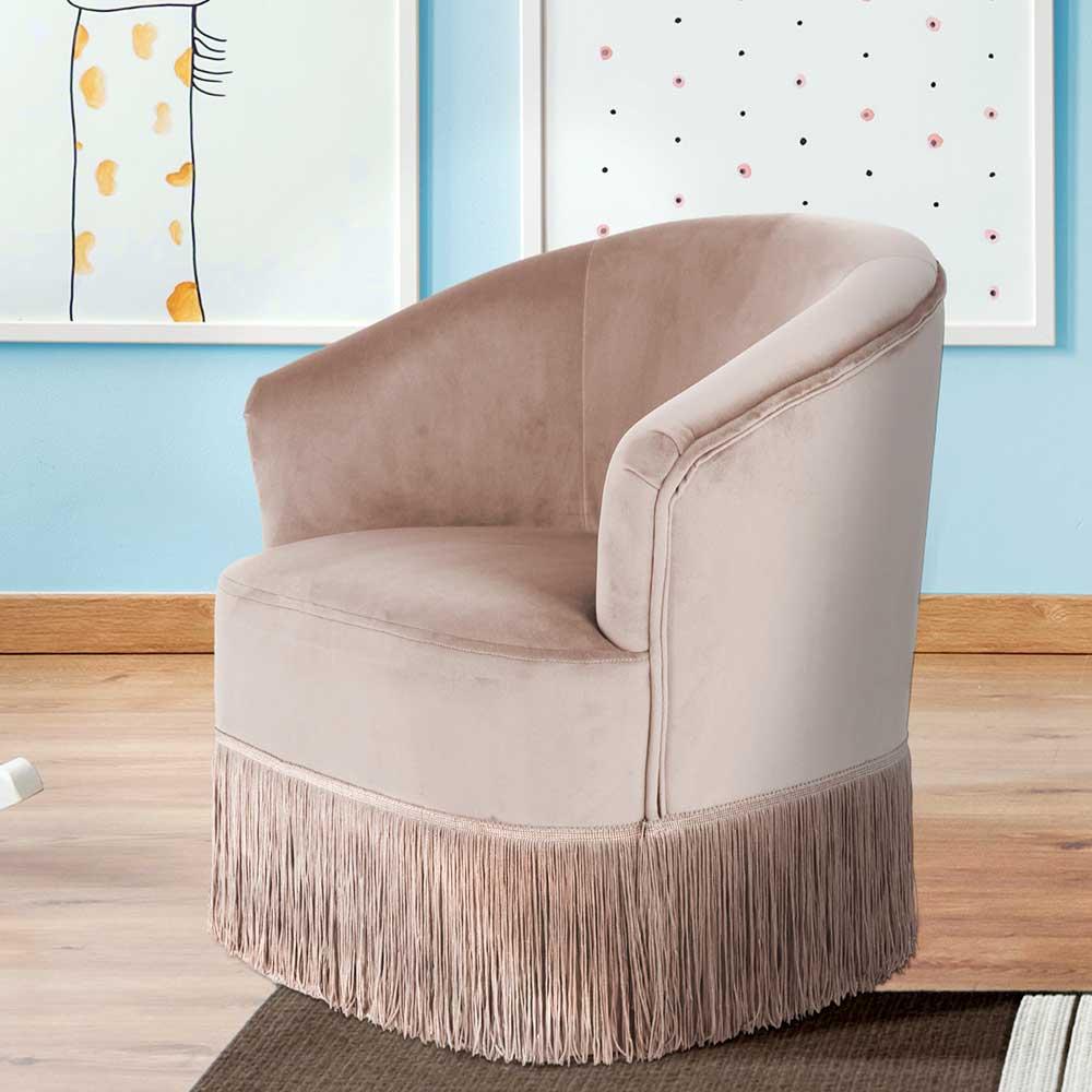 Kinderzimmer Sessel in Taupe Samt Fransen