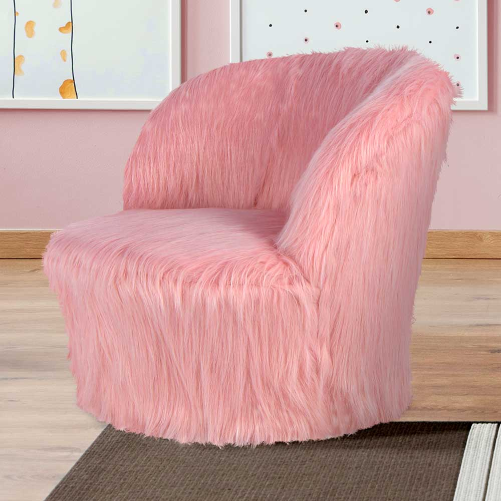Kunstfell Sessel in Rosa 25 cm Sitzhöhe