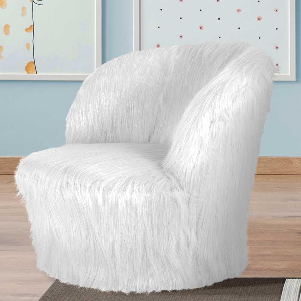Kinderzimmer Sessel in Weiß Kunstfell