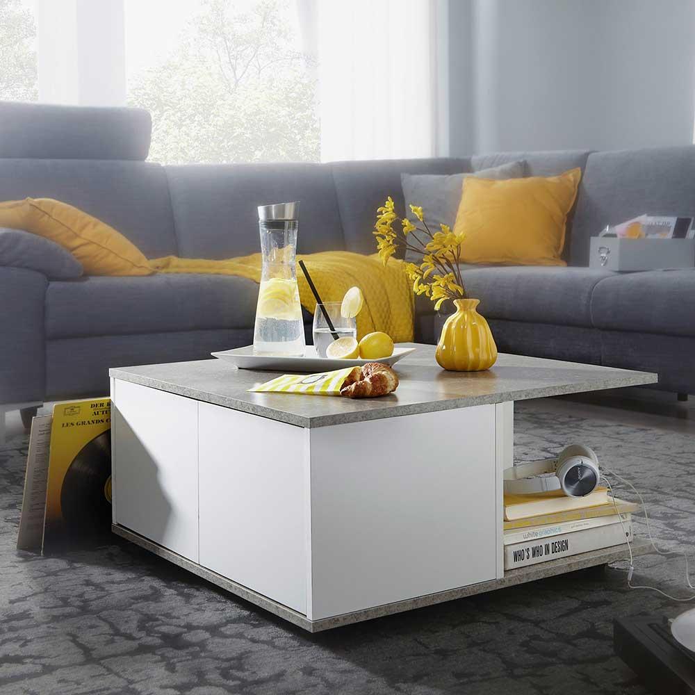 Rollen Couchtisch in Beton Grau und Weiß 70 cm breit