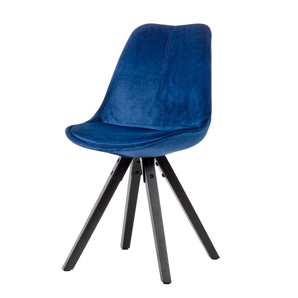 Esstisch Stühle in Dunkelblau Samt Massivholzgestell in Schwarz (2er Set)