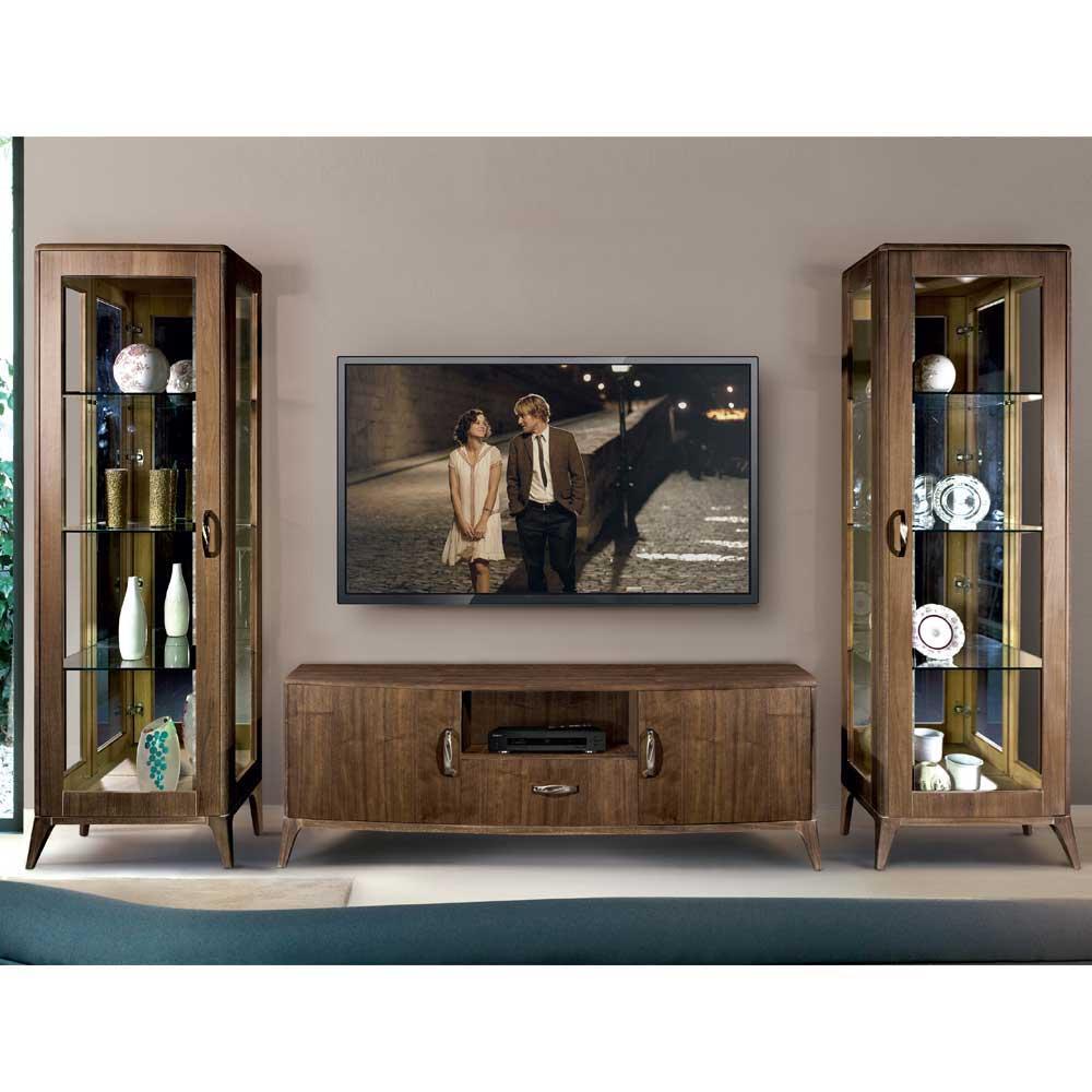 Extravagante Wohnwand mit Nussbaum furniert Retro Look (dreiteilig)