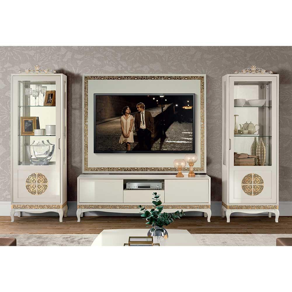 Extravagante Wohnwand in Weiß Blattgold verziert (vierteilig)