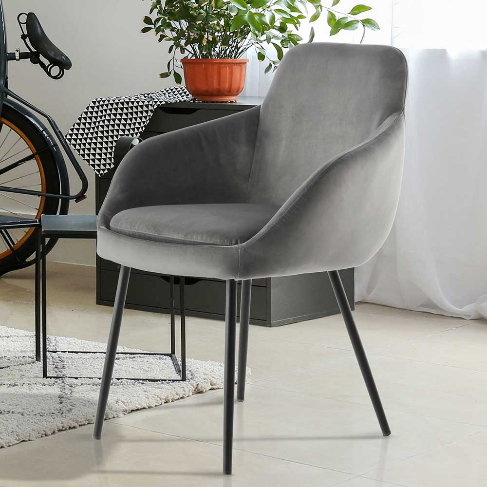Esstisch Stühle in Grau Samt Eisengestell in Schwarz (2er Set)