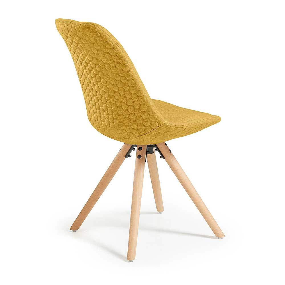Stühle im Skandi Design Gelb Webstoff (4er Set)