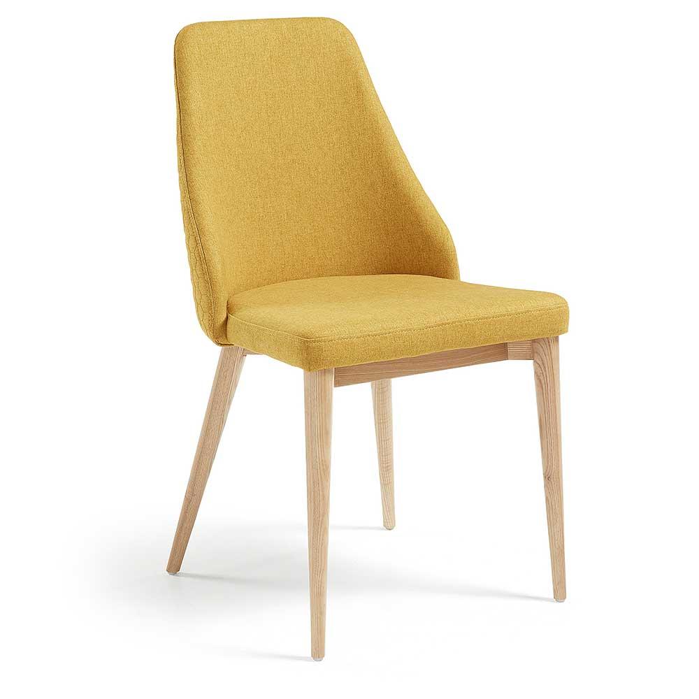 Esszimmerstühle in Gelb Webstoff Massivholzgestell aus Eiche (4er Set)