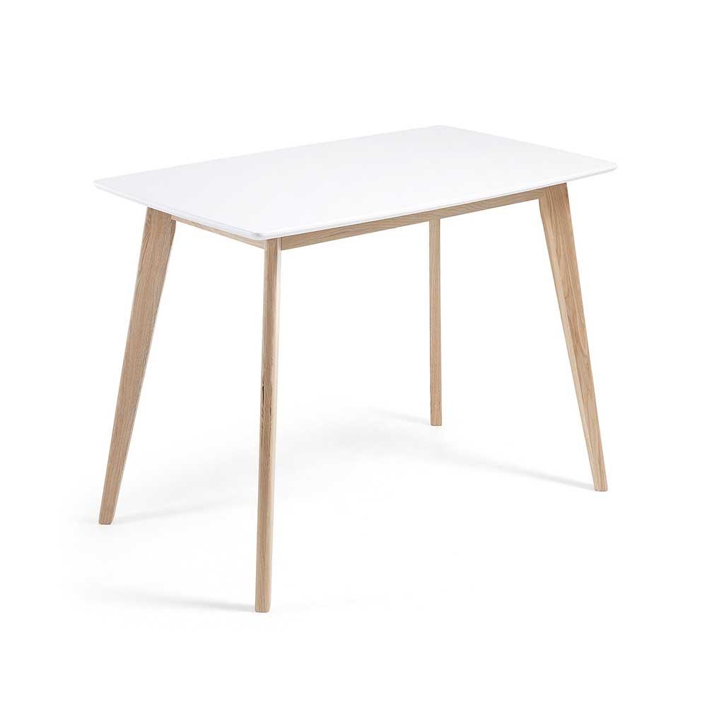 Esstisch in Weiß 4-Fußgestell aus Esche Massivholz
