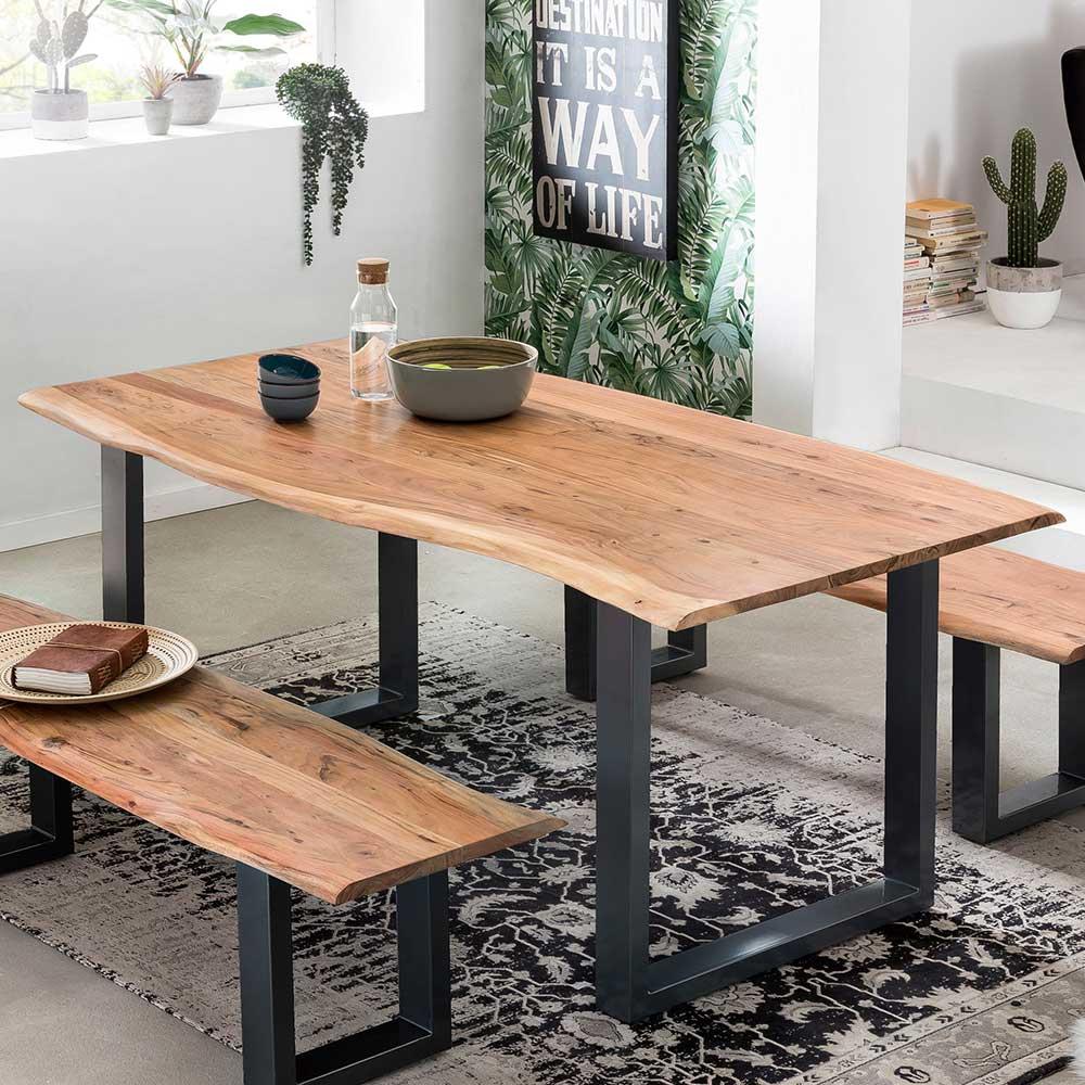 Baumkanten Esstisch aus Akazie Massivholz und Stahl Loft Design