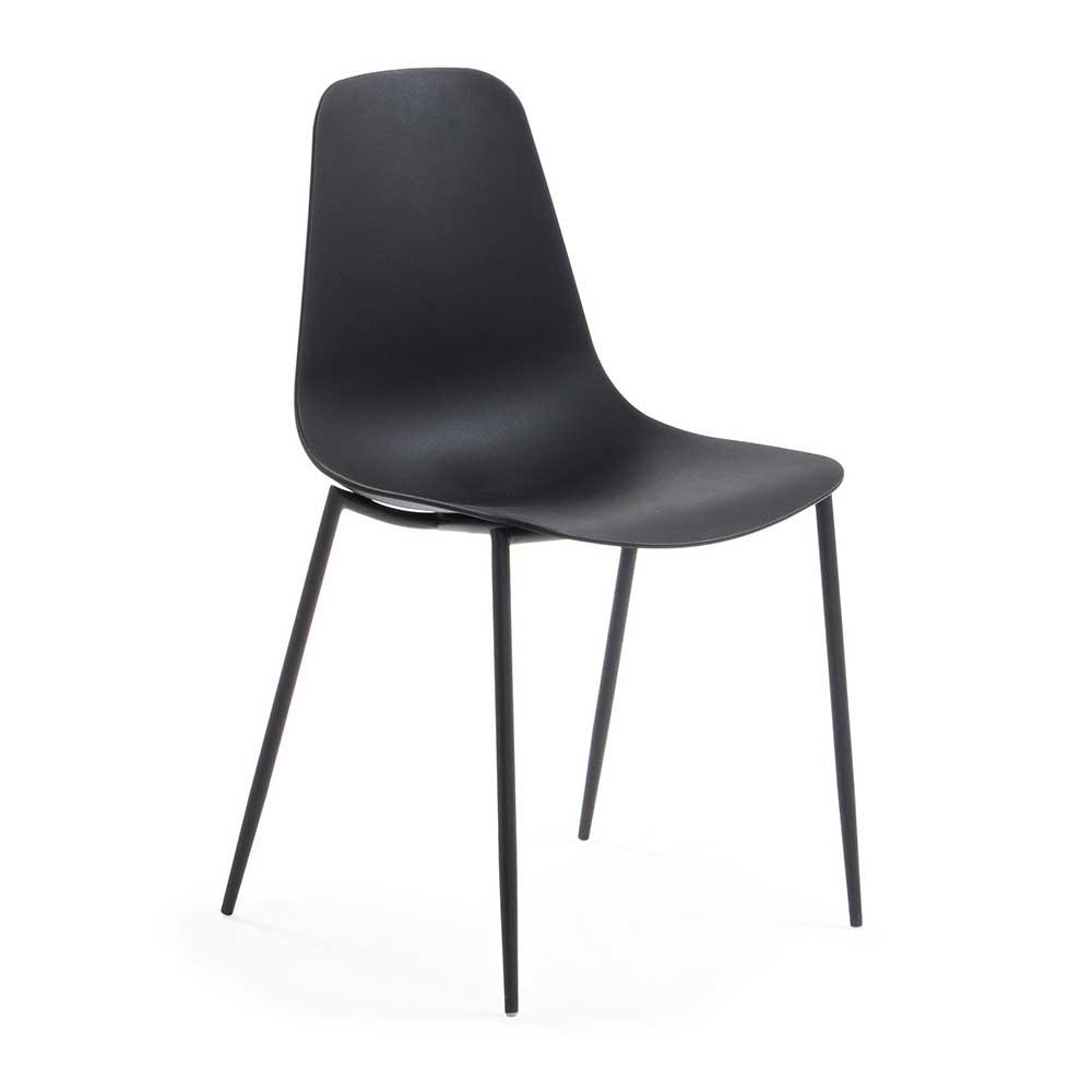 Esstisch Stühle in Schwarz Kunststoff und Stahl (4er Set)