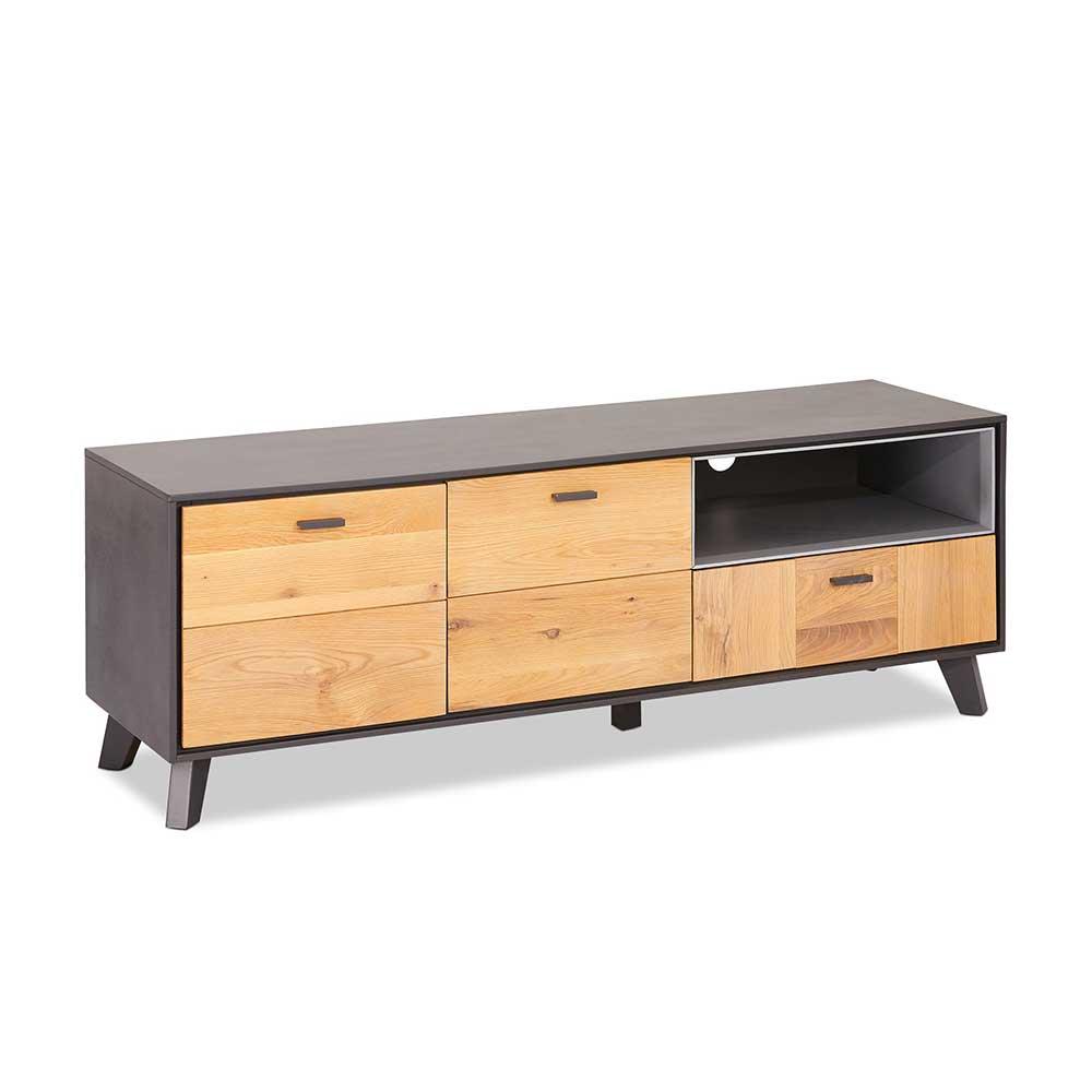 TV Möbel in Eiche Bianco und Grau 155 cm breit
