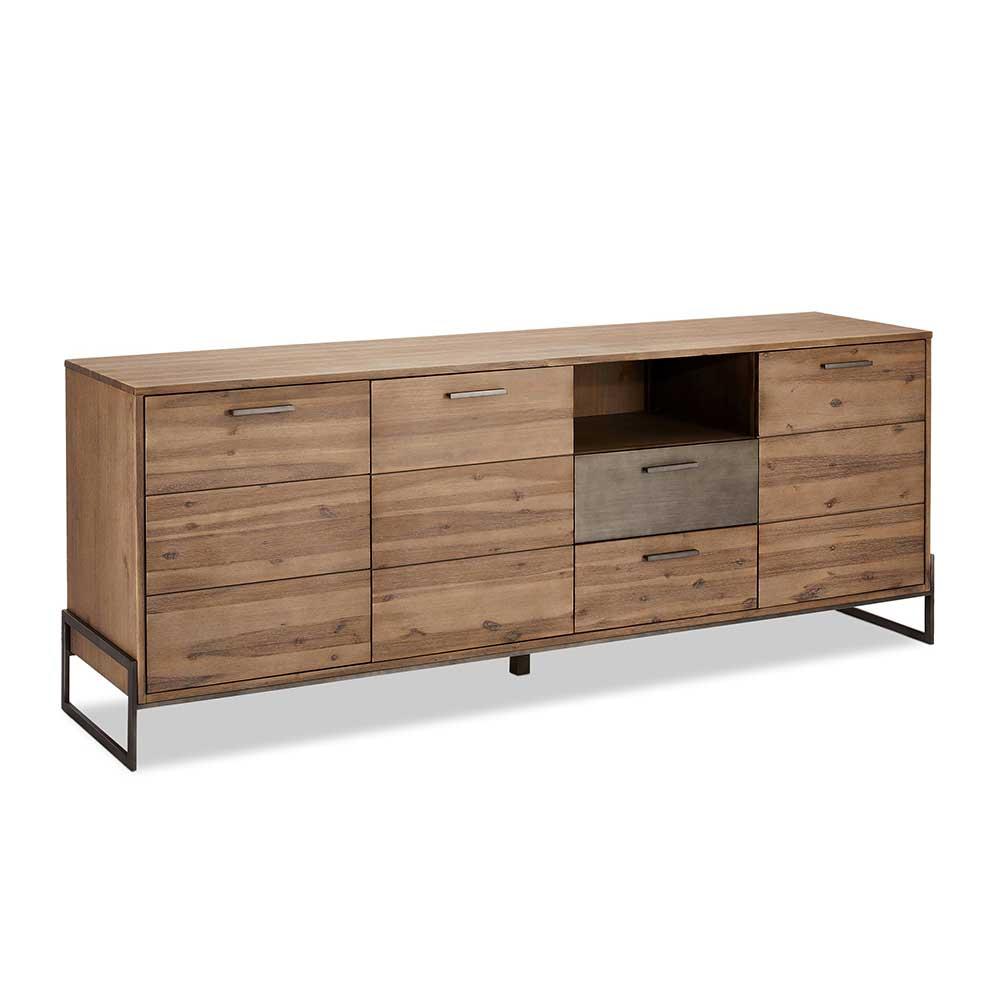 Sideboard aus Akazie Massivholz und Stahl 50 cm tief