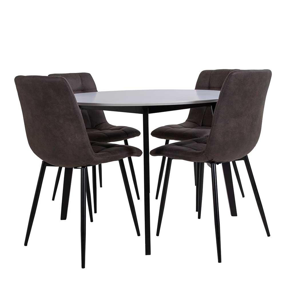 Esszimmer Sitzgruppe mit rundem Esstisch Skandi Design (fünfteilig)
