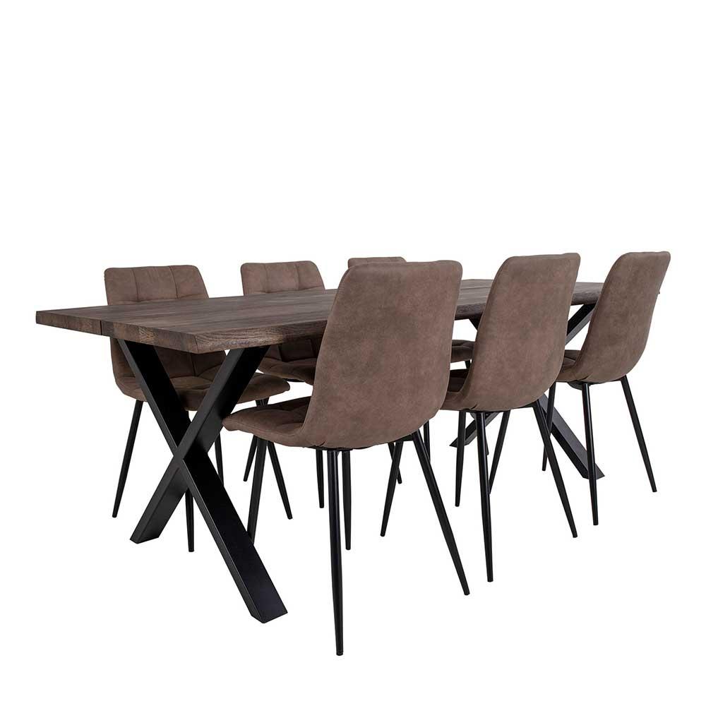 Essgruppe in Eiche dunkel und Hellbraun 2 m Tisch (siebenteilig)