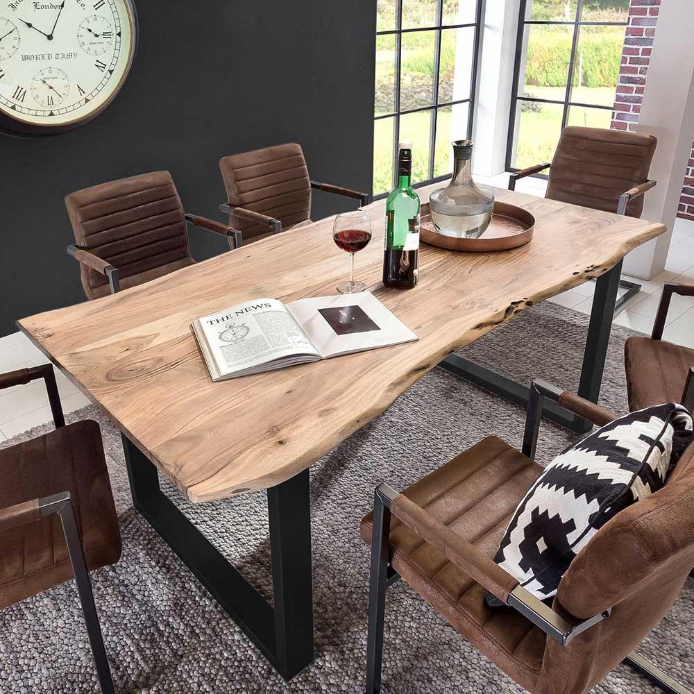 baumkantentisch aus akazie massivholz und eisen loft design