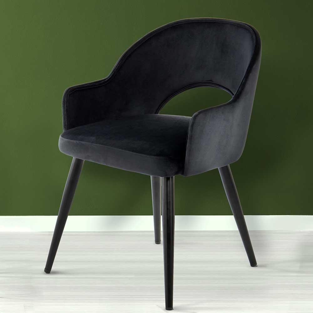 Esstisch Stühle im Retrostil Schwarz Samt (2er Set)
