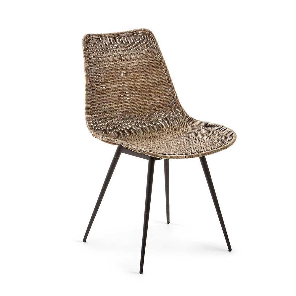 Rattan Esstisch Stühle in Braun 45 cm Sitzhöhe (2er Set)