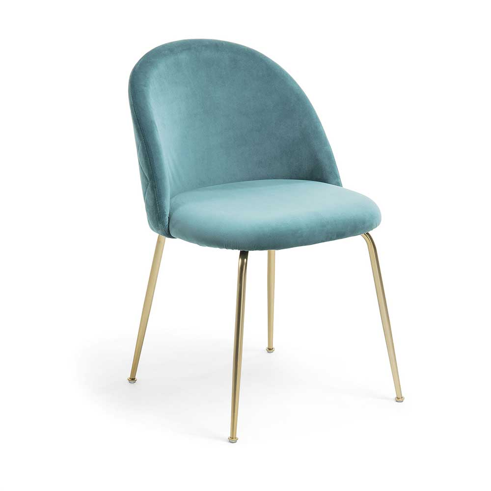 Esstisch Stühle in Türkis Samt Retro Design (2er Set)