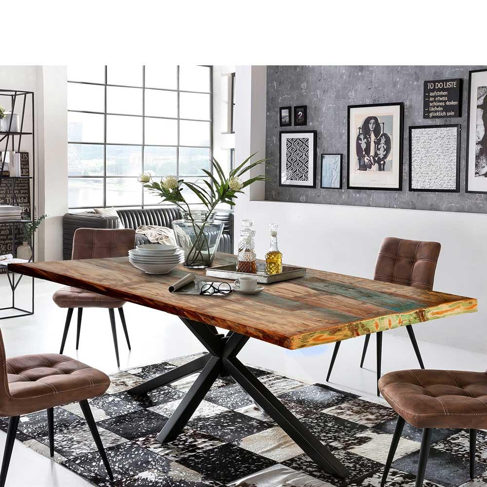 Recyclingholz Esstisch in Bunt und Schwarz Loft Style