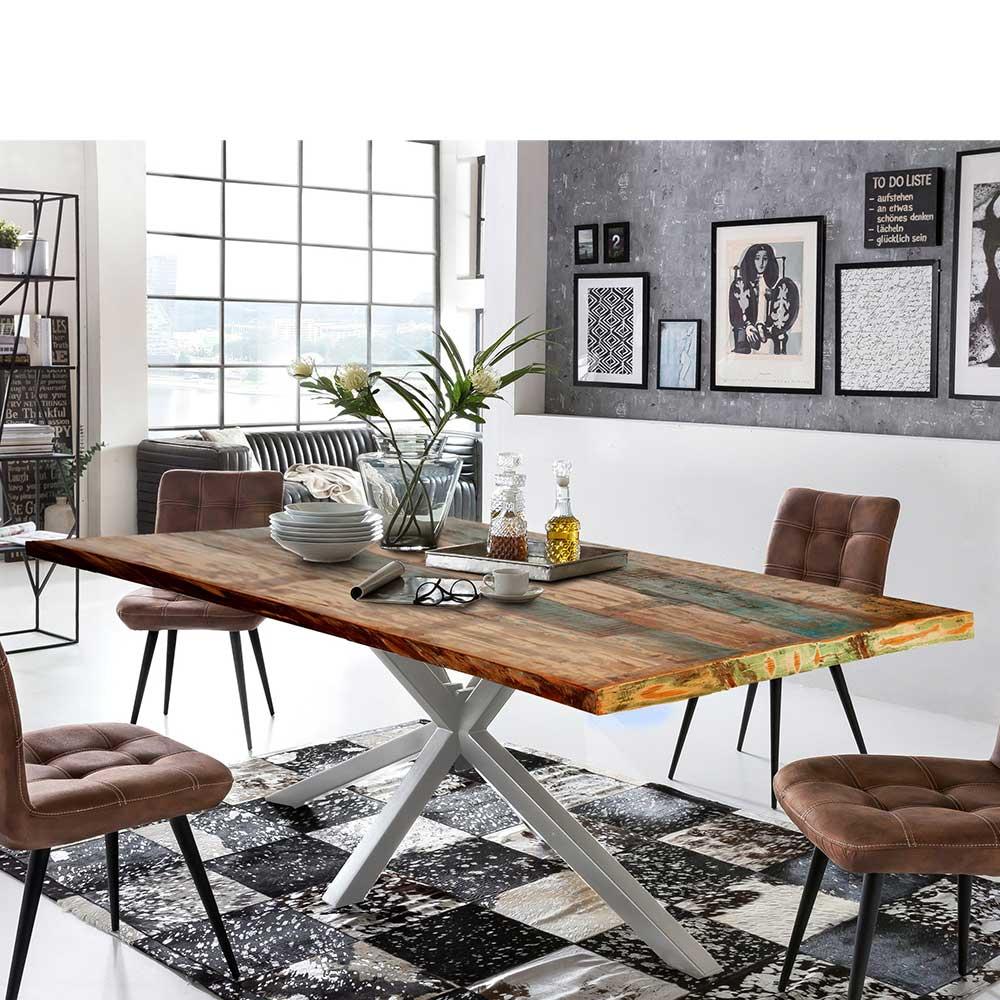 Design Esstisch in Bunt und Altsilberfarben Recyclingholz und Metall
