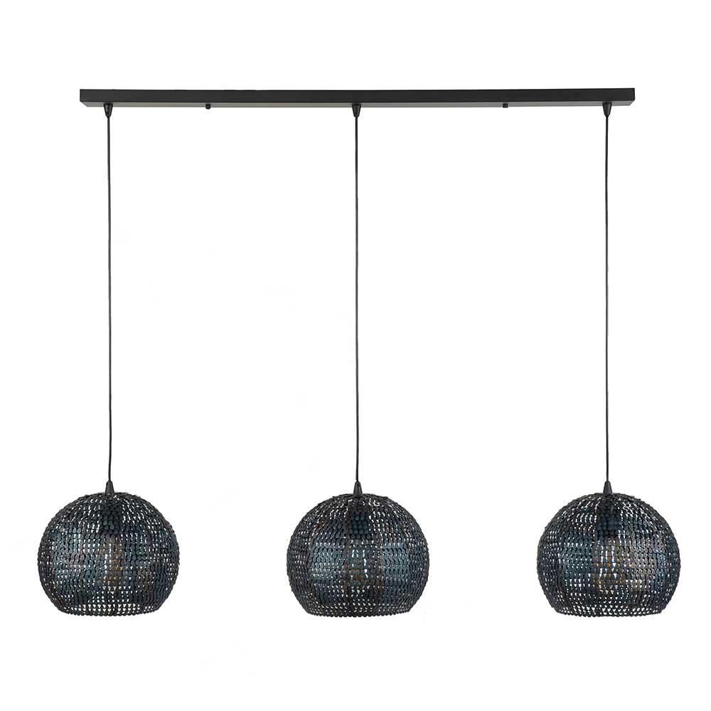 Design Hängelampe in Dunkelbraun und Schwarz drei runden Schirmen