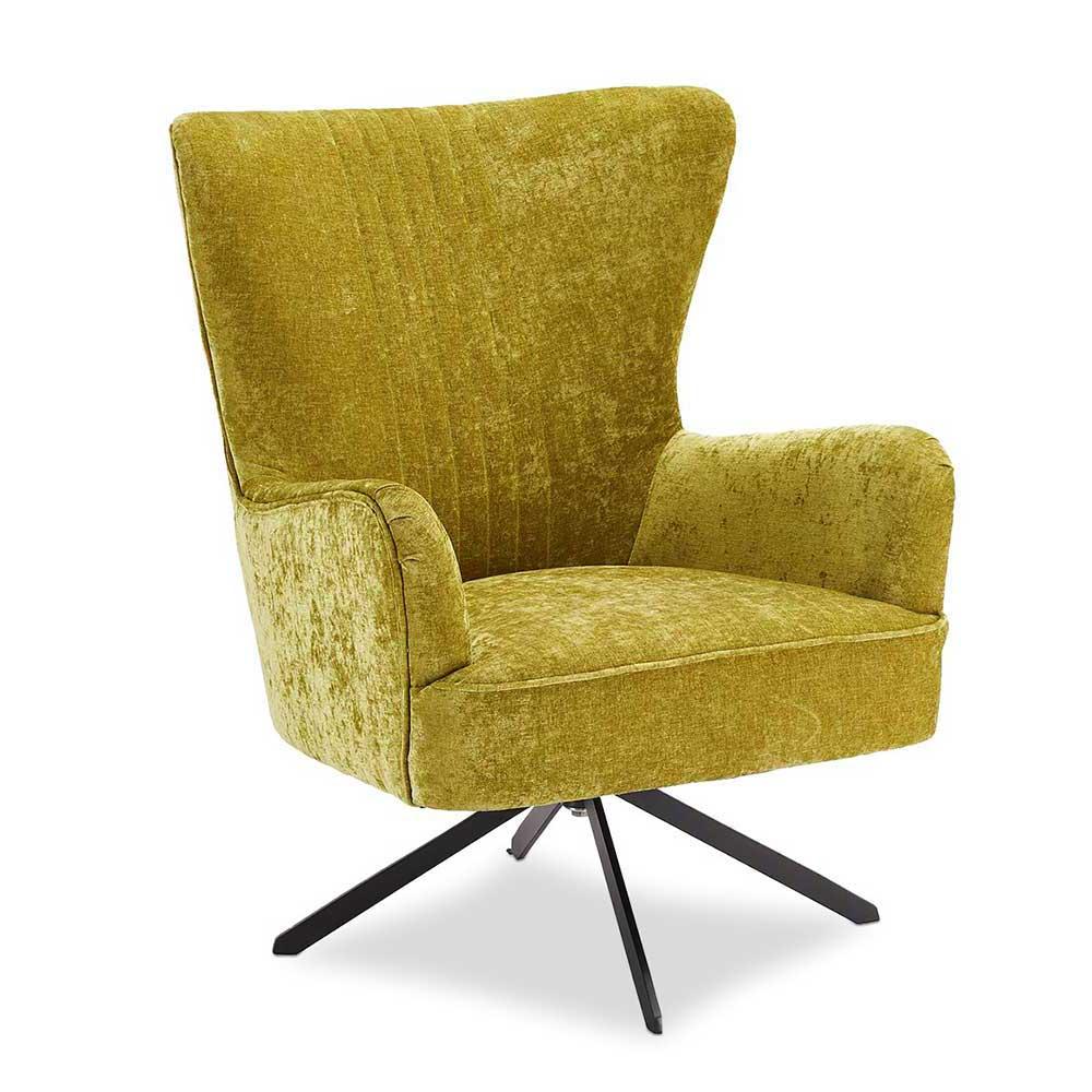 Drehbarer Sessel in Hellgrün Webstoff Retro Design