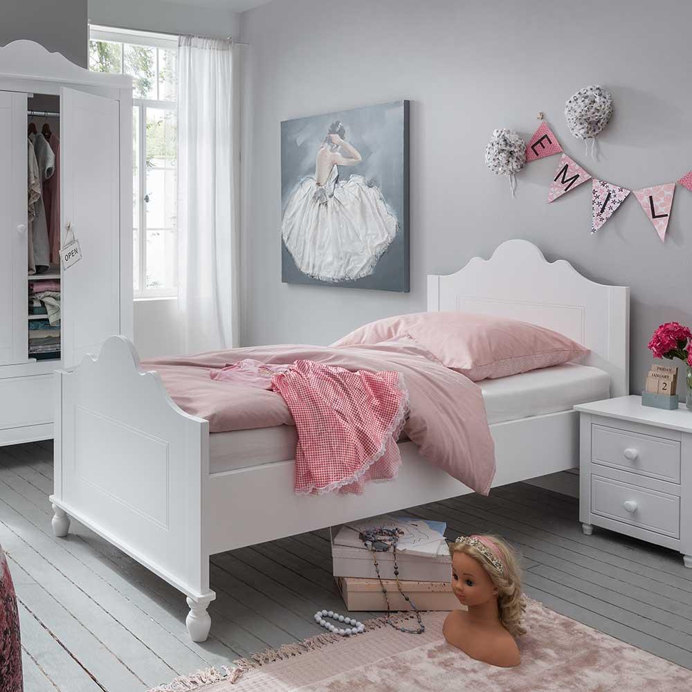 Mädchenbett in Weiß 90×200 cm