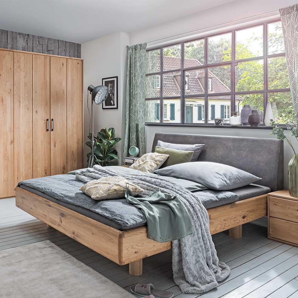 Bett aus Wildeiche Massivholz Recyclingleder Kopfteil in Anthrazit