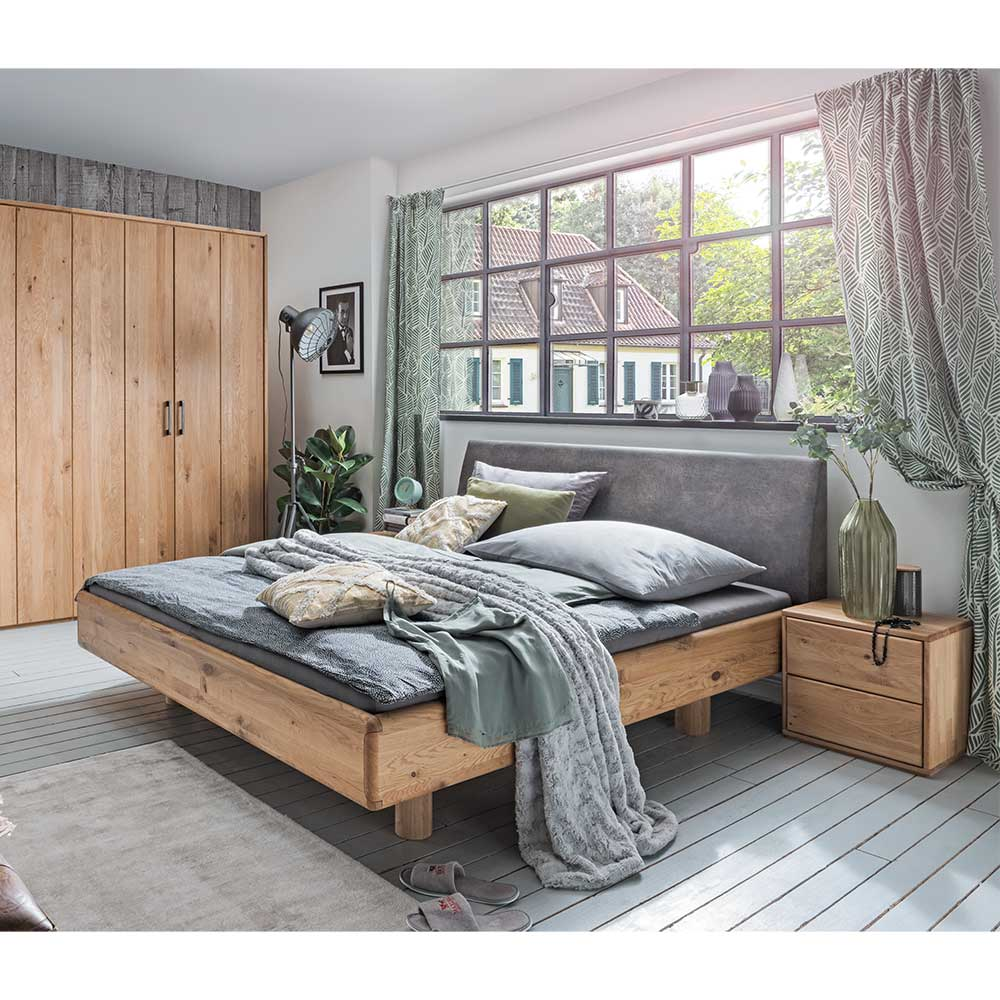 Komfortbett aus Wildeiche Massivholz Nachtkonsolen (3-teilig)