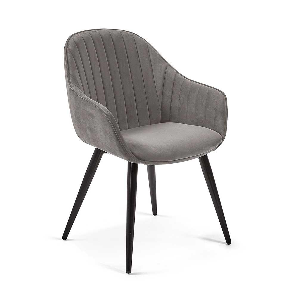 Samt Esstisch Stühle in Grau Armlehnen (2er Set)