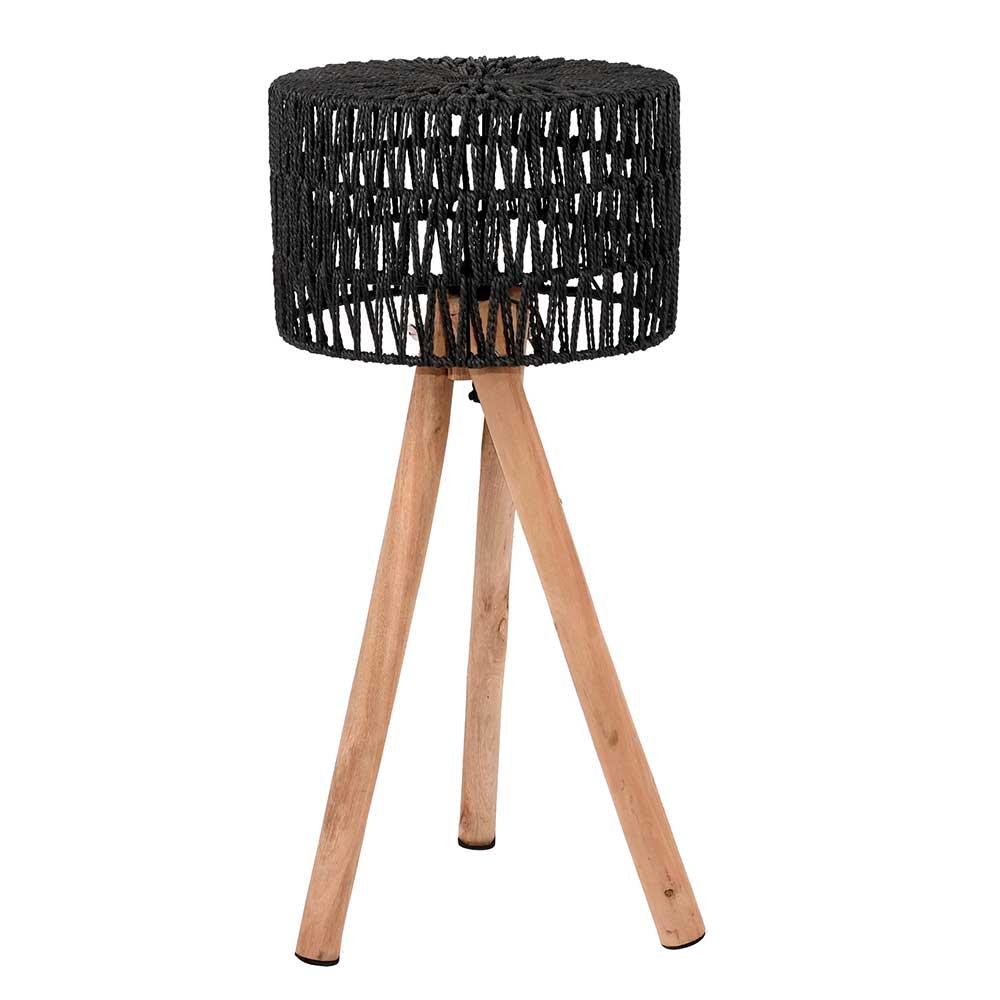 Kordel Tischleuchte in Schwarz Massivholz Beinen