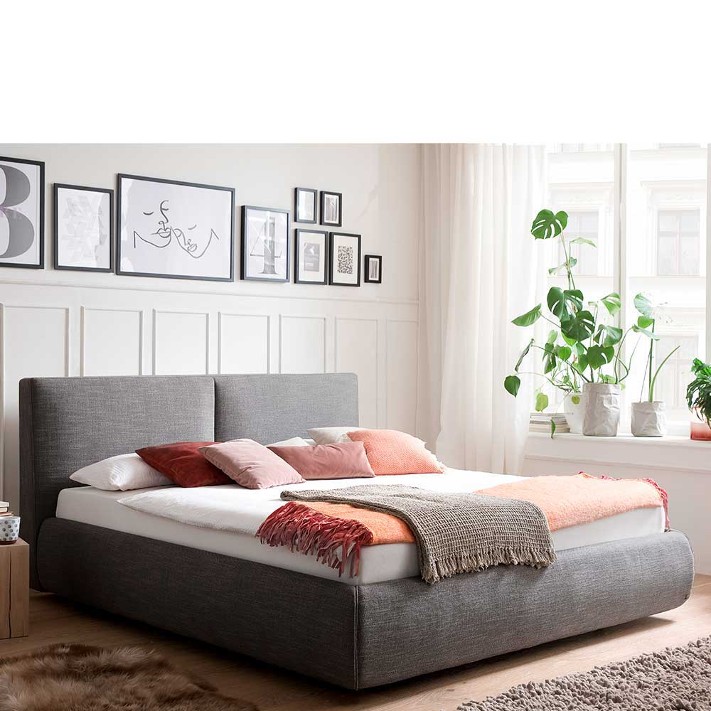 Stauraum Bett in Anthrazit Webstoff 180×200 cm