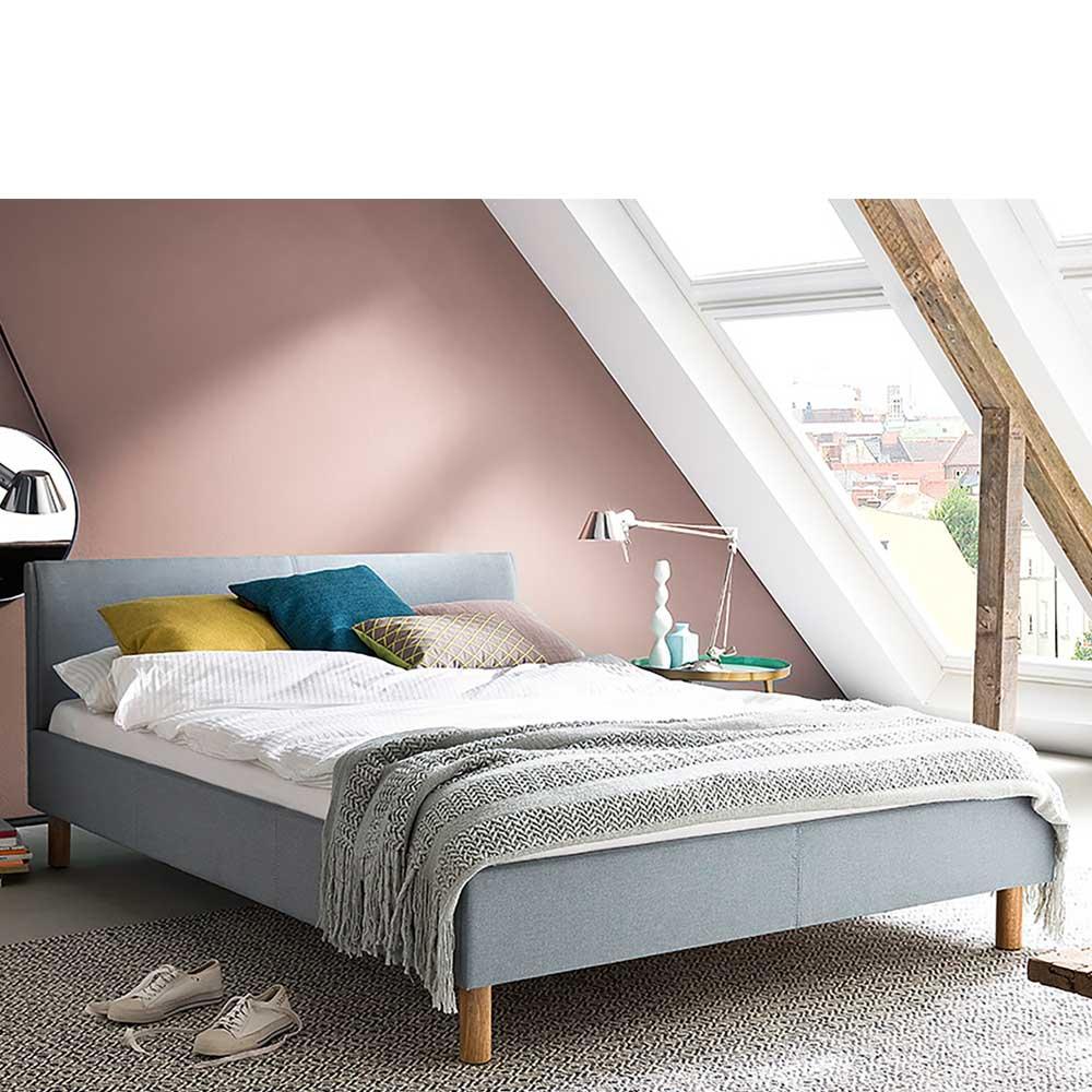 Einzelbett in Hellblau Webstoff modern