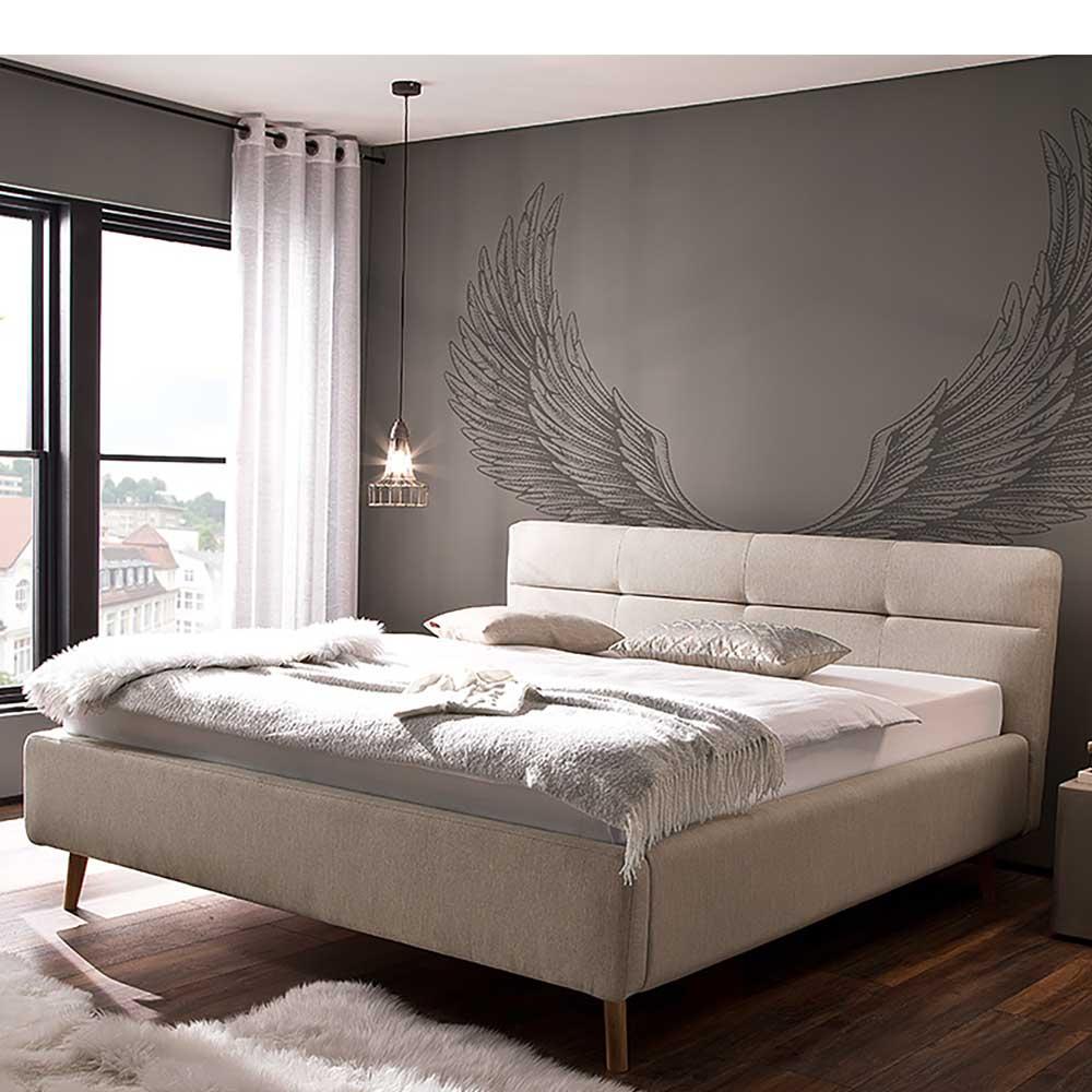 Doppeltbett in Beige Webstoff Bettkasten
