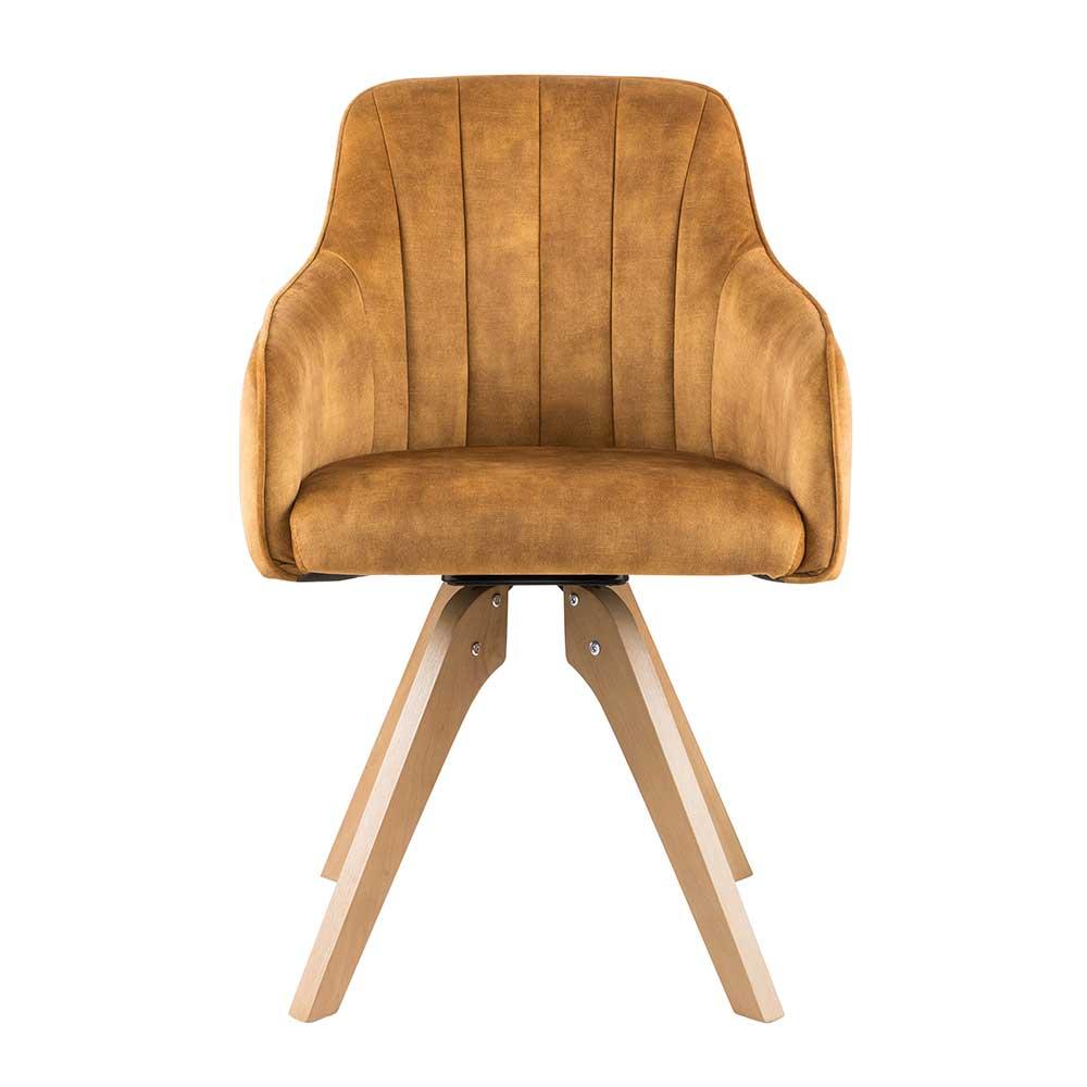 Esstisch Stühle in Gelb Velours drehbar (2er Set)