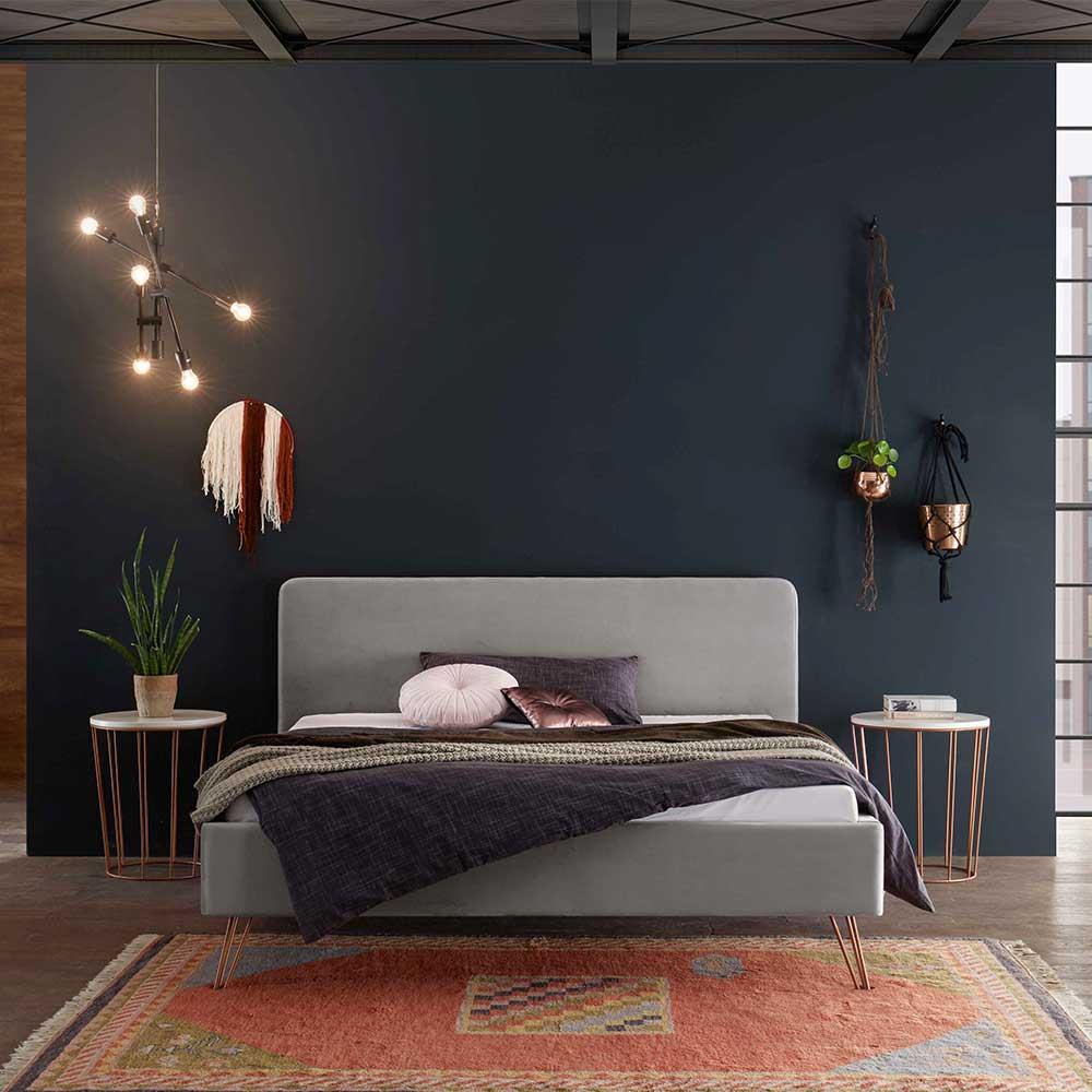 Großes Bett in Hellgrau Samt Metallgestell in Kupferfarben (3-teilig)