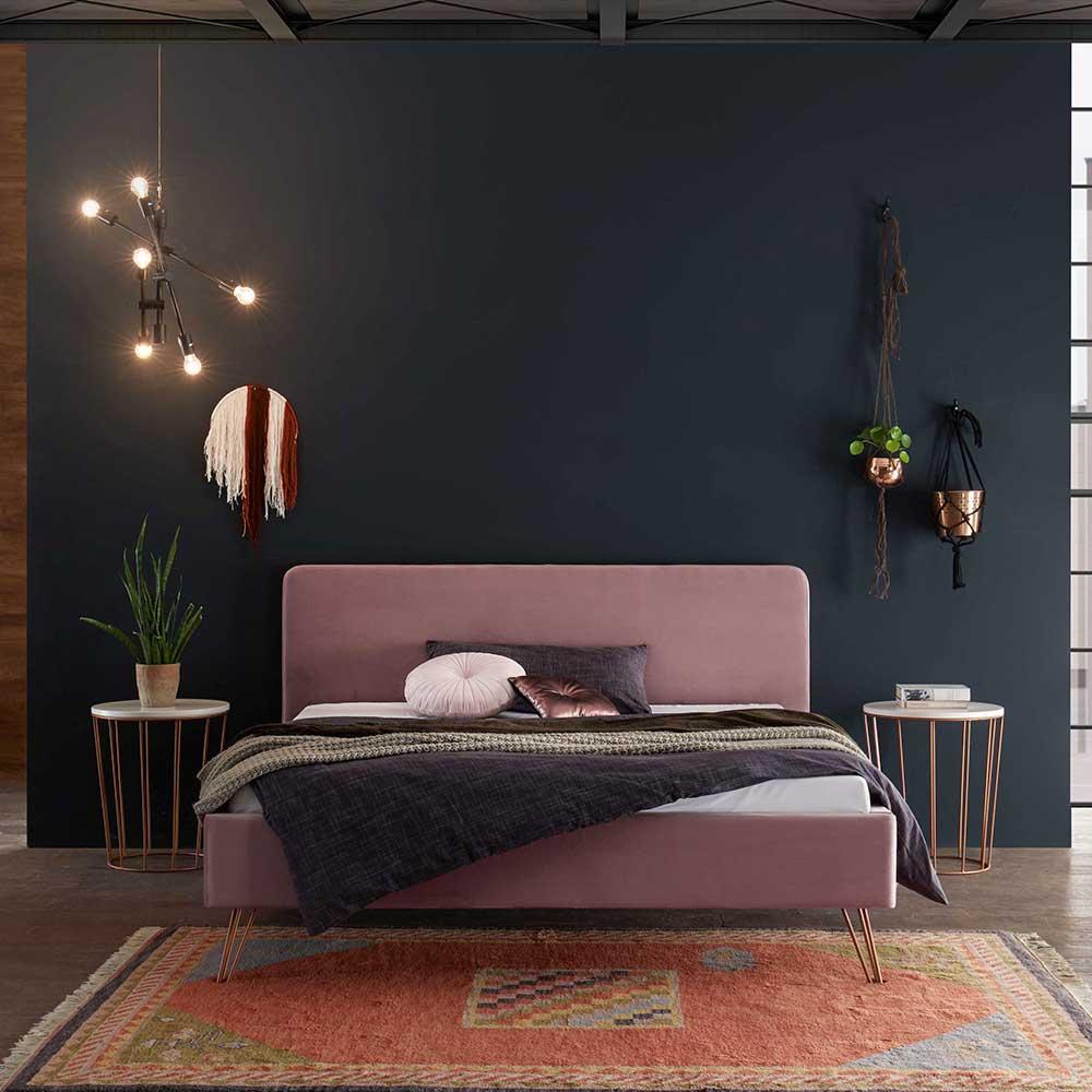 Gepolstertes Bett in Rosa Samt Nachttischen (3-teilig)