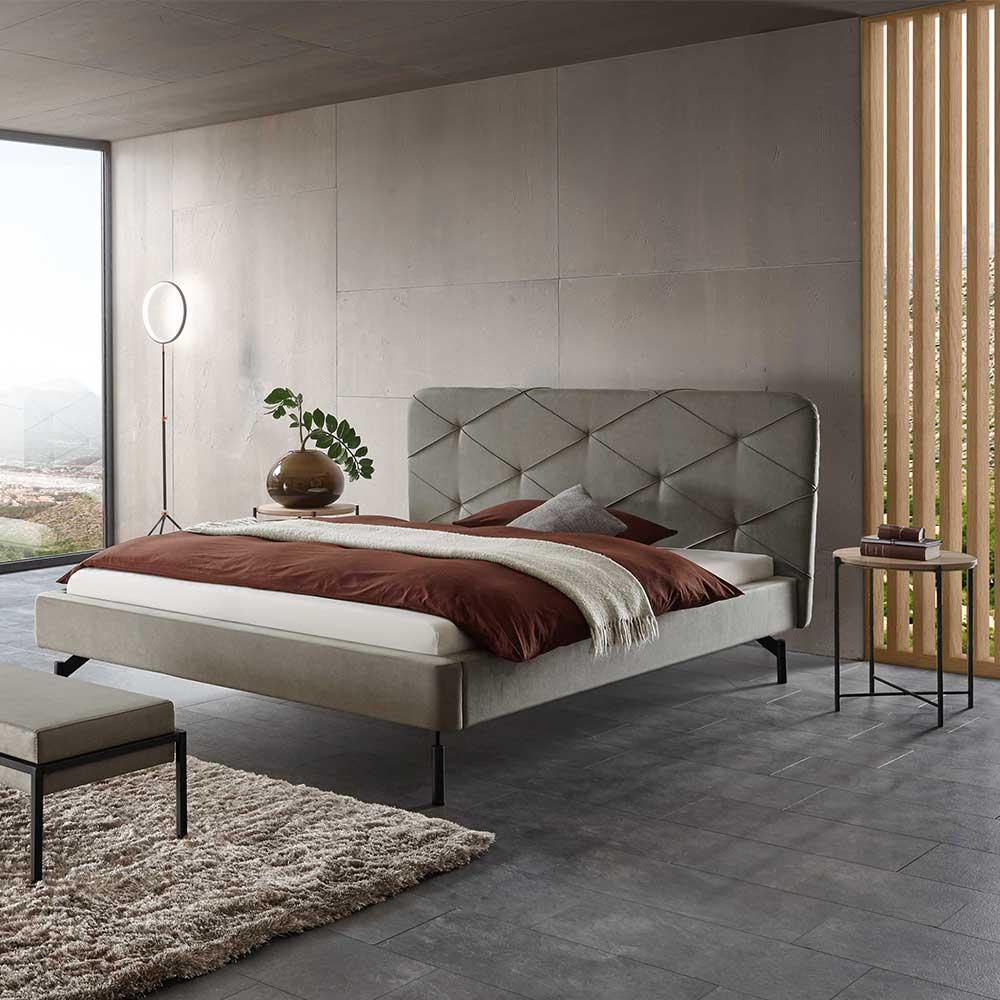 Ehebett in Grau Webstoff Nachttischen (3-teilig)