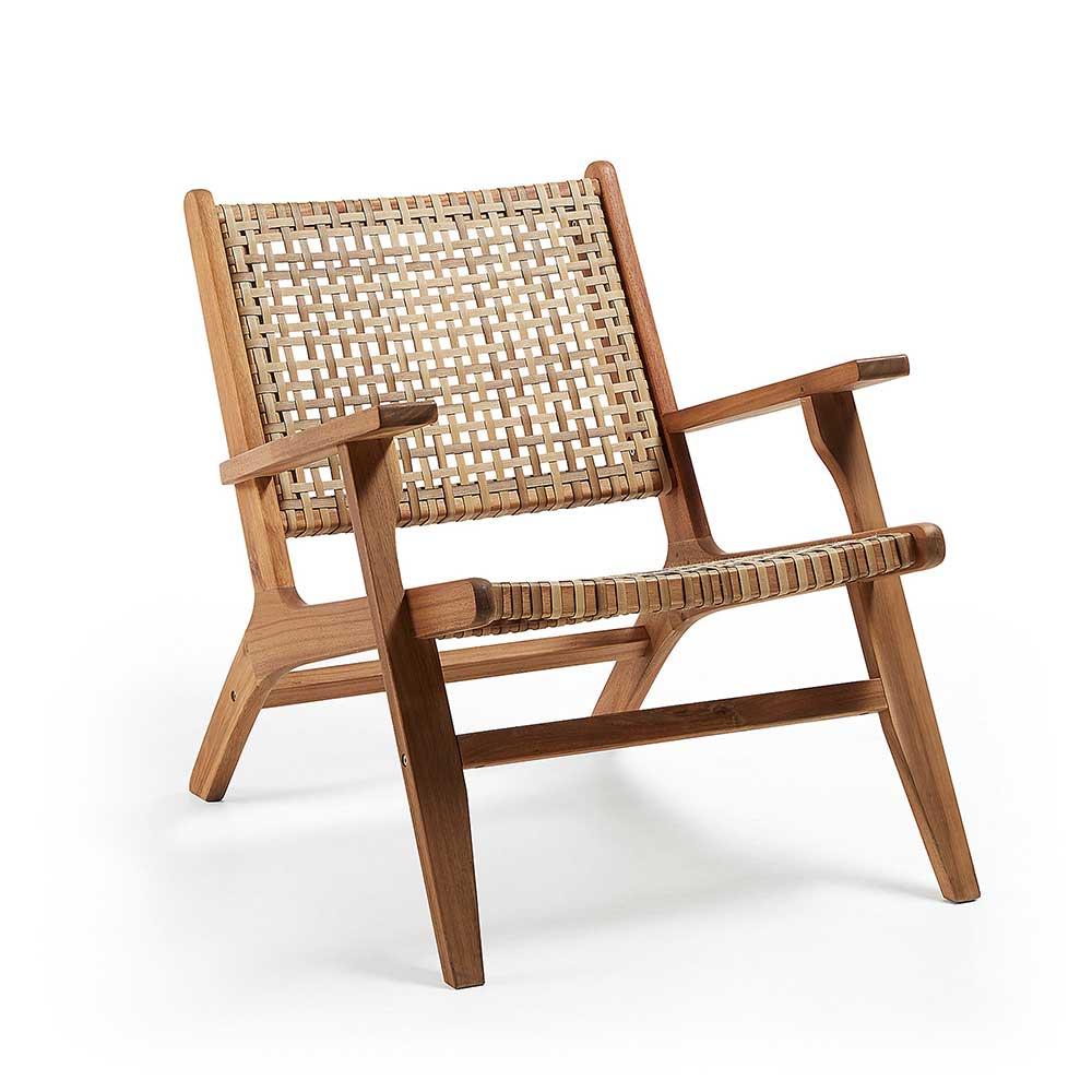 Loungesessel aus Rattan und Akazie Massivholz Skandi Design