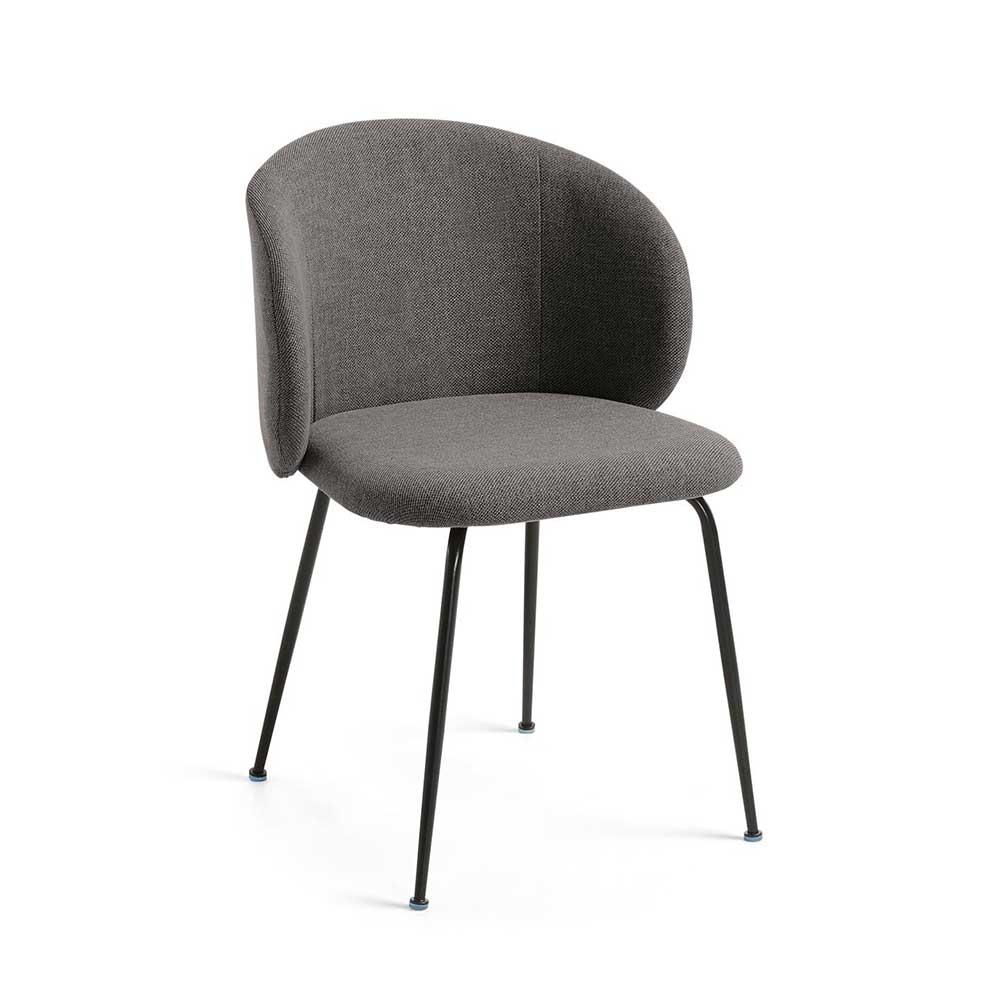 Esszimmerstühle in Dunkelgrau Webstoff Metallbeinen in Schwarz (2er Set)