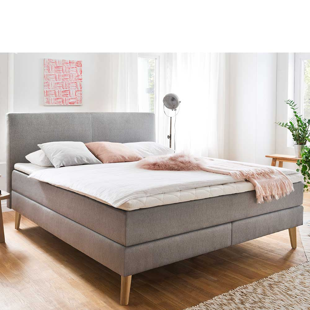 Boxspringbett in Taupe Webstoff 180×200 cm