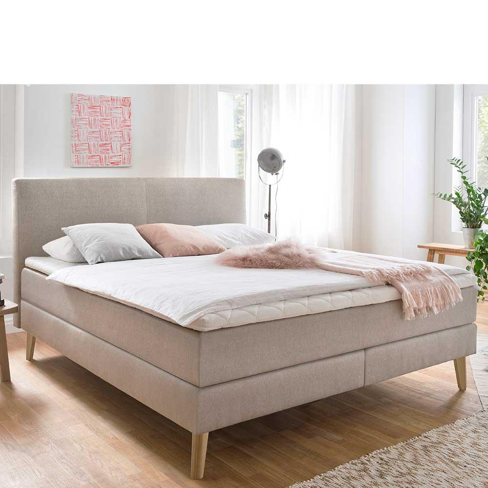 Amerikanisches Bett in Beige Webstoff Skandi Design