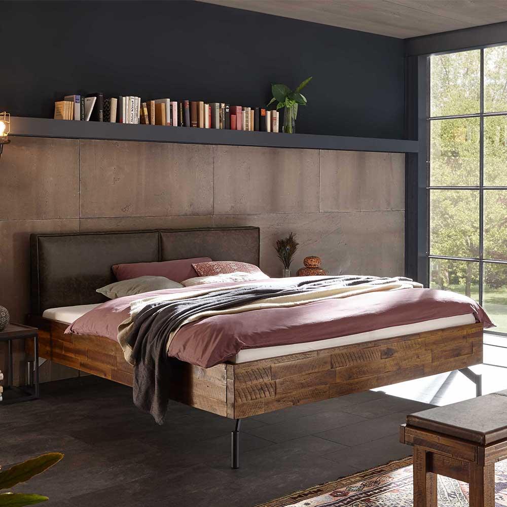 Loft Design Bett aus Akazie Massivholz Polsterkopfteil in Dunkelbraun