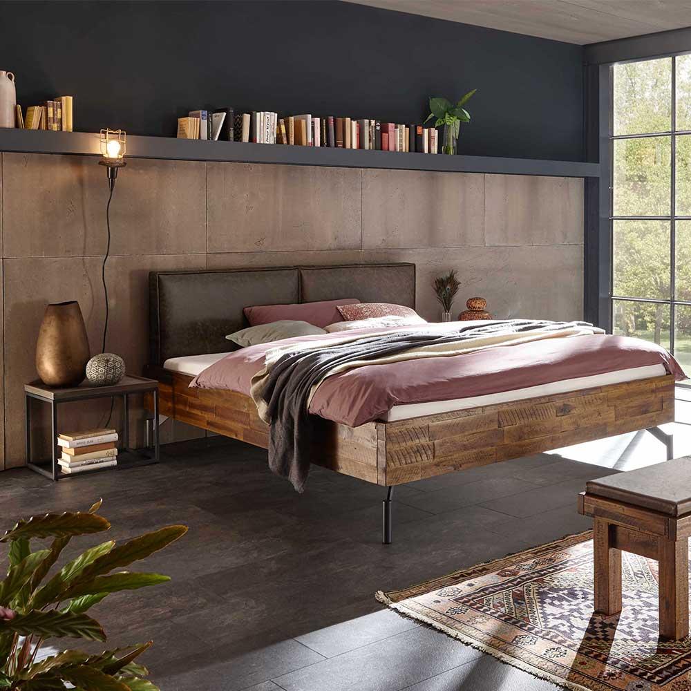 Industriedesign Bett aus Akazie Massivholz Nachtkommoden (3-teilig)